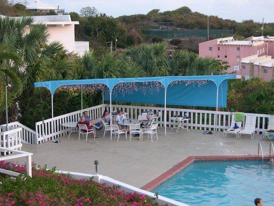 Harbour Beach Villas : Pool deck adjacent to beautiful condos on the hill above Secret Harbor, St Thomas