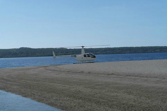 The Havannah, Vanuatu: helicopter at the beach