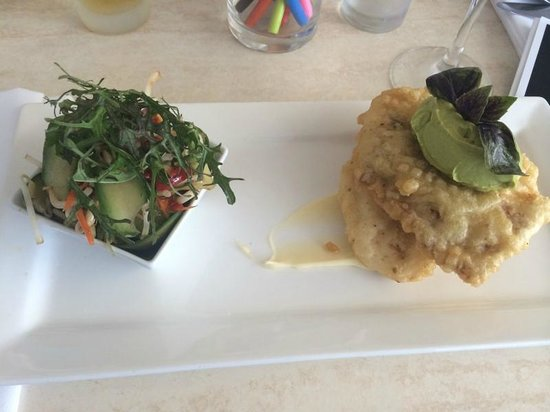 Salsa Bar & Grill: Tempura barramundi which was served with a miso emulsion, avocado wasabi mousse and wakame salad