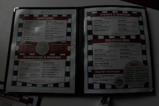 Obie's Filling Station: The menu