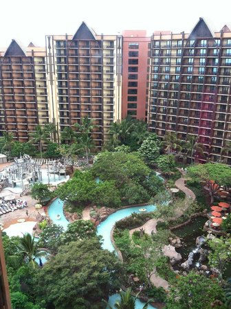 Aulani, a Disney Resort & Spa: Our balcony looking down
