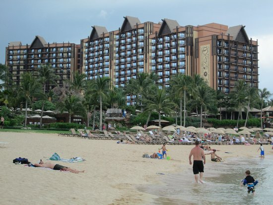 Aulani, a Disney Resort & Spa: View from the ocean towards the resort