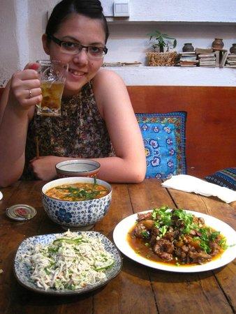 Hani Gejiu Restaurant: noodle soup, hani-pork, and lime chicken salad