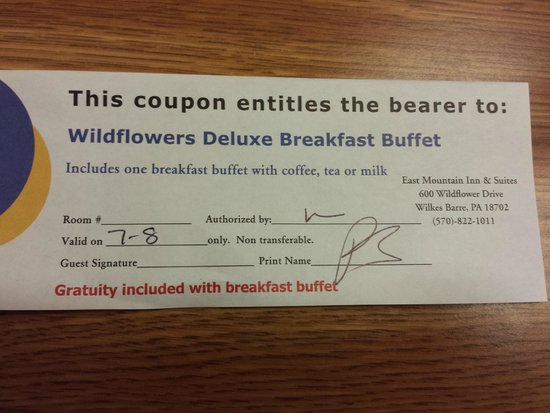 Holiday Inn Wilkes Barre East Mountain : Breakfast Coupon