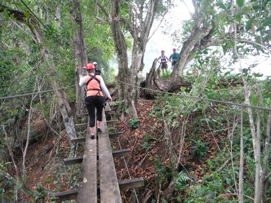 Outriggers zipline: Christie on the training bridge