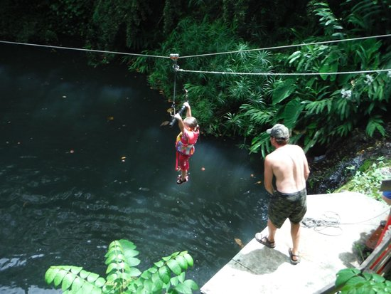 Outriggers zipline: 5yr old Azryn t-baring way above the jungle pool