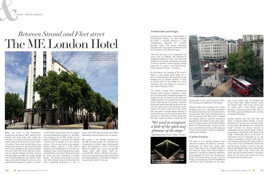 ME London Hotel: My hotel review published in my magazine