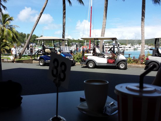 Reef View Hotel: Main mode of transport is electric buggies. Also wonderful view from a cafe over the marina. :)