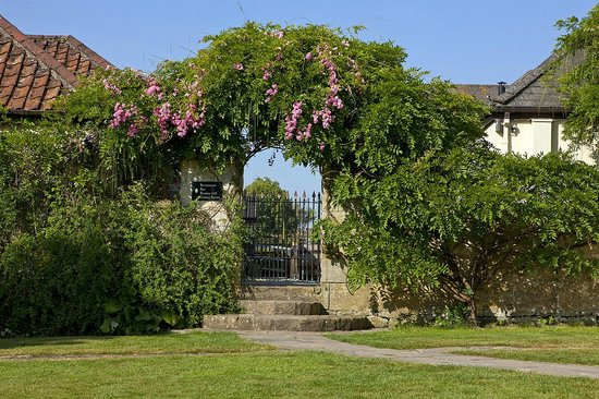 The Moonraker: Wisteria arch leading to the restaurant & games rom
