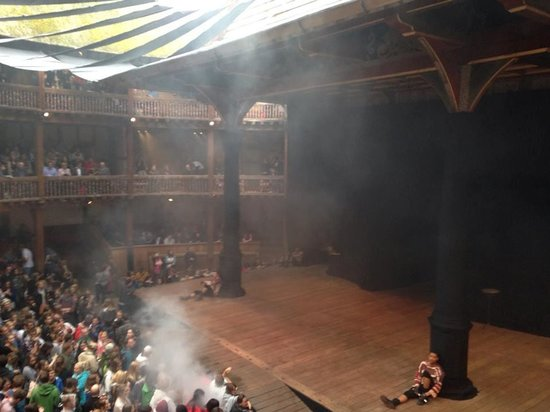 Shakespeare's Globe Theatre: The stage from first floor seating.