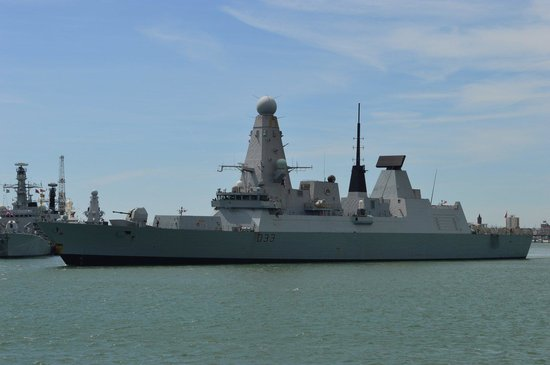 Portsmouth Historic Dockyard: A modern warship