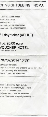 City Sightseeing Rome: Copie du ticket de voyage