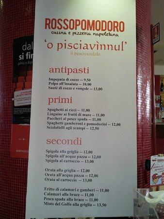 Rossopomodoro Quartucciu: Cartellone menù