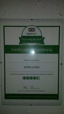 Vinho e Noz: Certificado de Excelência 2014