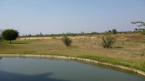 Kumudara Hotel Bagan : Vue de la chambre vers les pagodes