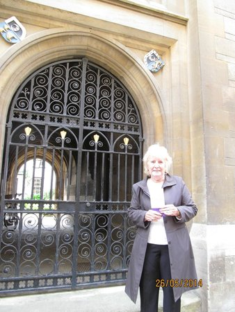 King's College Chapel: my aunty and I at the door
