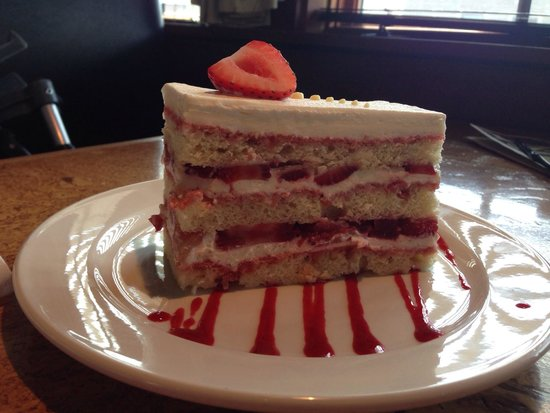 The Cafe: Strawberry cake.  Delicious. Big enough to share.