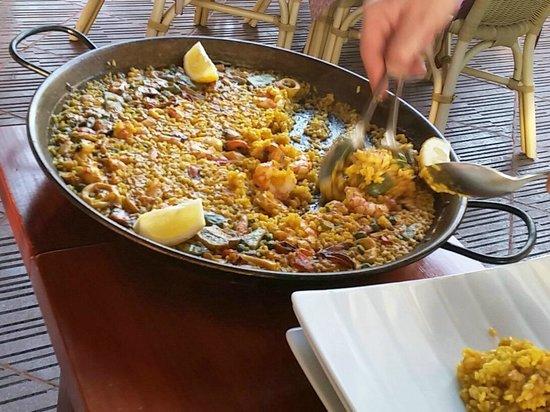Tia Jass Restaurant: Paella Marisco Ciega (alles fertig geschält)