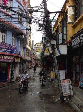 Hotel Vaishali : ホテル前の通り