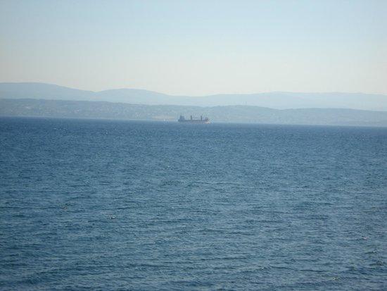Negroponte Resort Eretria : Un pétrolier passe au loin.