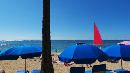 Outrigger Reef Waikiki Beach Resort: we are wating the beach while eating lunch