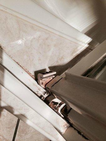 Best Western Hotel De La Plage : Salissures et moisissures dans la porte de douche