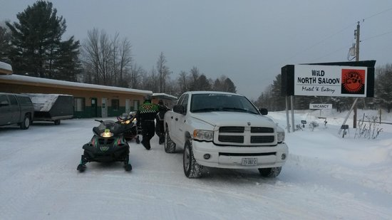 Wild North Saloon & Motel : Snow mobile trail across the street