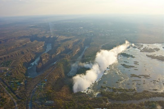 Mosi-oa-Tunya / Victoria Falls National Park: Victoria Falls from Helicopter. Border between Zambia & Zimbabwe