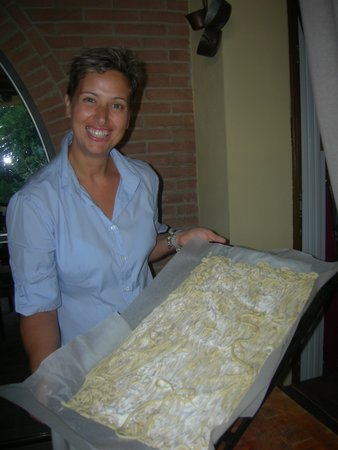 L'Orto di Panza: Elena with the fresh made pici