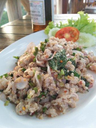 After Beach Bar: Pork larb - mild version but still pretty spicy!
