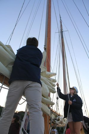 Schooner Excursions, Inc: Taking down the sails
