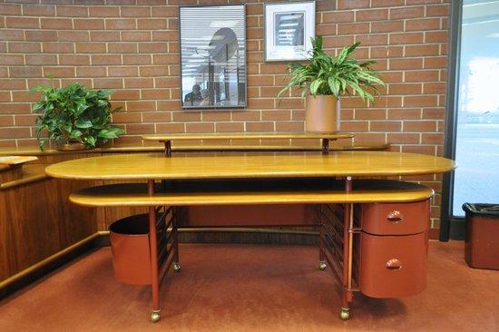 SC Johnson Headquarters: FLW-designed desk on view in tour area.