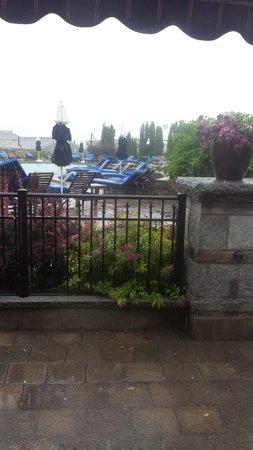 Harborside Hotel & Marina: Room 102 view of the pool and Hurricane Arthur's rain