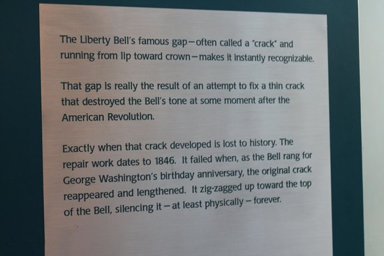 Liberty Bell Center: Description of the crack in the bell.