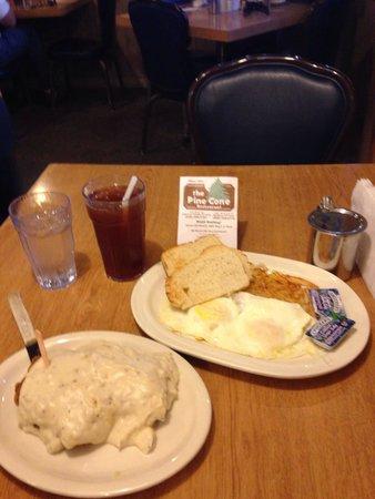 Pine Cone Restaurant: Pork tenderloin and eggs breakfast... All day!