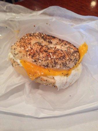 Bodo's Bagel Bakery - UVA Corner : Egg whites with cheddar on an everything bagel.