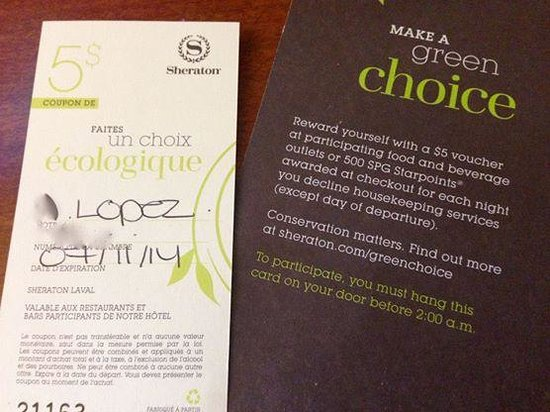 Sheraton Laval Hotel 5 Voucher For Going Green