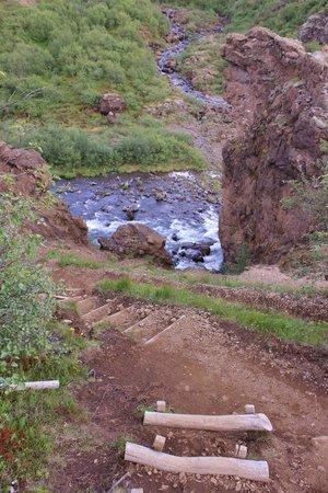Glymur: wooden step path to stream
