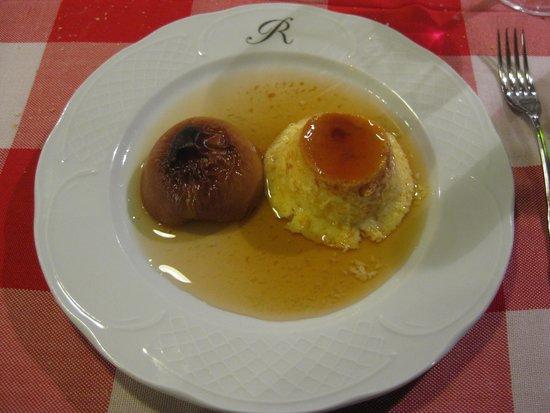 Sidreria Roxario : Flan de huevo con melocotón asado