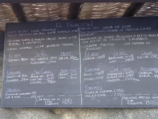 El Farallon : Menu