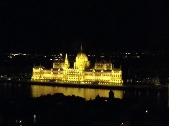 Hilton Budapest - Castle District: Night time view of the Parliment from my room at the Hilton