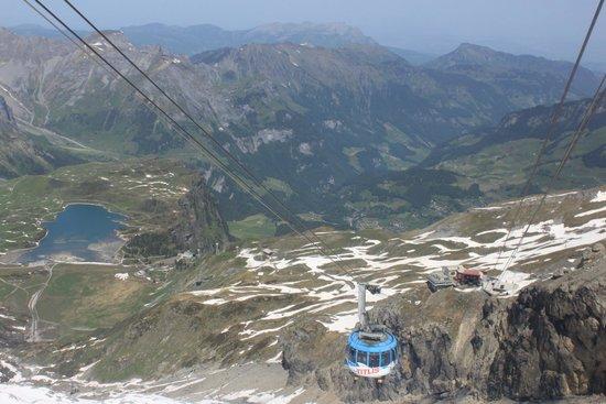 "Mount Titlis: ""Funicular"" Gondola from summit"