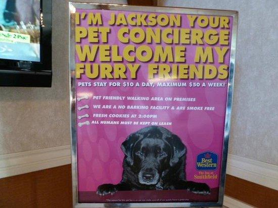 Best Western Plus Plattsburgh: Pet Concierge Welcome sign in lobby