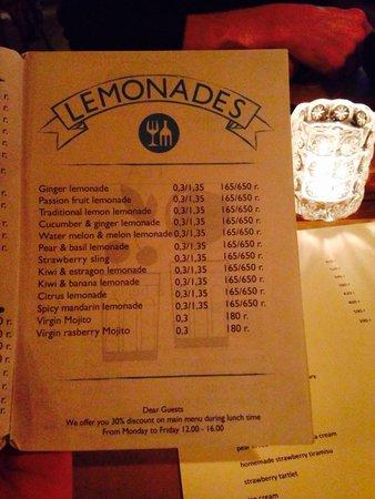 Amici : Drinks selection (lemonades)