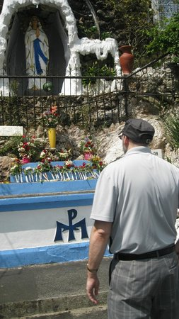 """Our Lady of Lourdes Grotto: looking at the """" lady of the lourdes """" statue"""