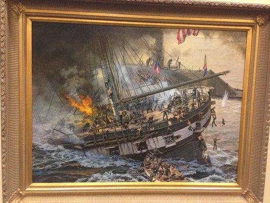 Νιούπορτ Νιουζ, Βιρτζίνια: oil painting, U.S. Civil War, engagement between CSS Virginia and USS Cumberland