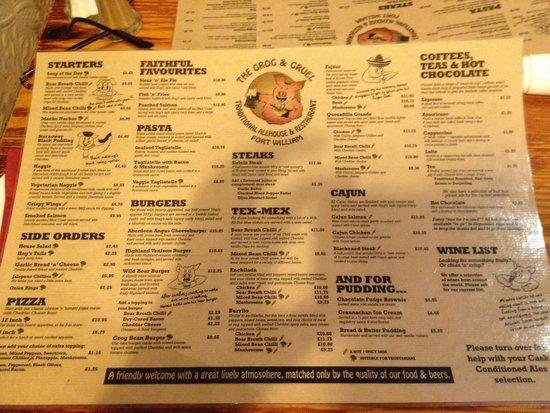 The Grog & Gruel: The menu