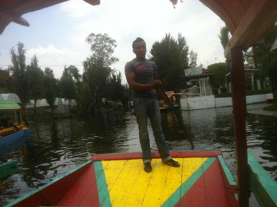 Xochimilco: Our pilot, Mario.