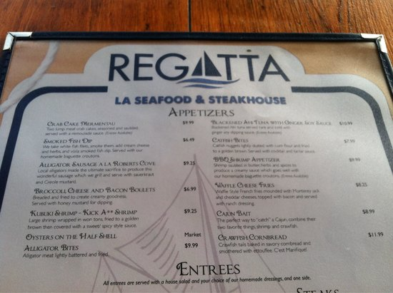 The Regatta Seafood and Steakhouse: Appetizer menu - love the smoked fish dip!