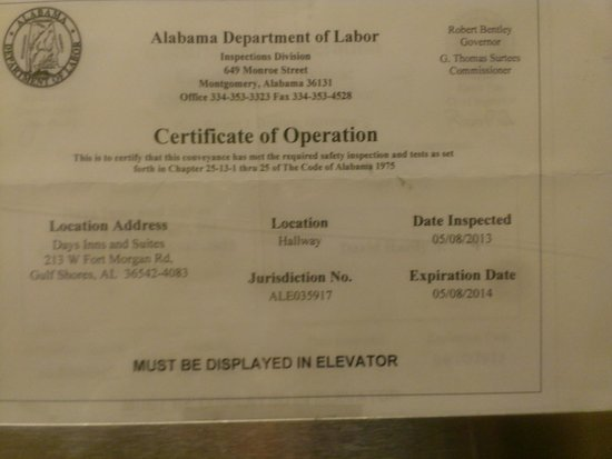 Magnuson Hotel and Suites Gulf Shores: Expired elevator license